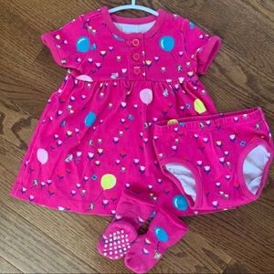 Hanna Andersson Dress Bloomer & Socks Outfit Set